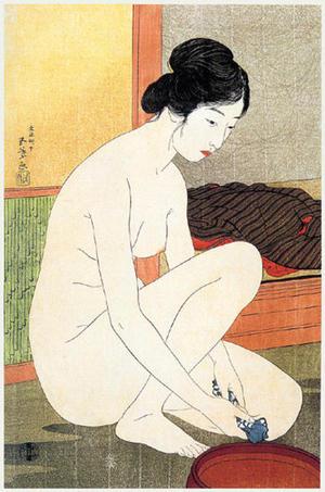 Hashiguchi Goyo: Woman at the Bath — 浴場の女-ゆあみ- 浴後裸女 - Japanese Art Open Database