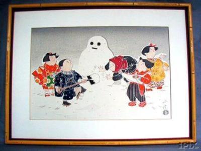Hasegawa Konobu: Snowman - Japanese Art Open Database