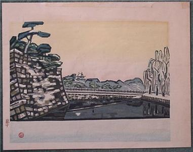 Okiie: Unknown, castle bridge - Japanese Art Open Database