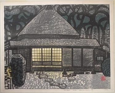Okiie: Unknown, house at night - Japanese Art Open Database