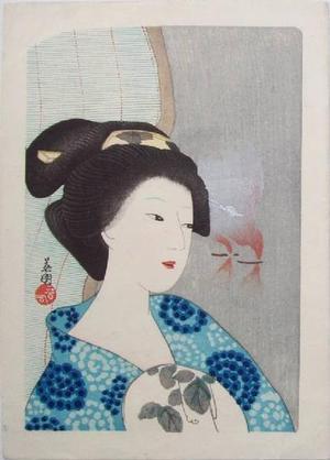 Hirezaki Eiho: Bijin with Fan - Japanese Art Open Database