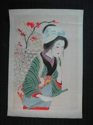 Hirezaki Eiho: Bijin with load - Japanese Art Open Database