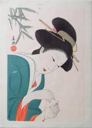 Hirezaki Eiho: Bijin Sewing - Japanese Art Open Database