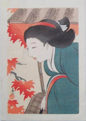 Hirezaki Eiho: Bijin and Autumn Leaves - Japanese Art Open Database