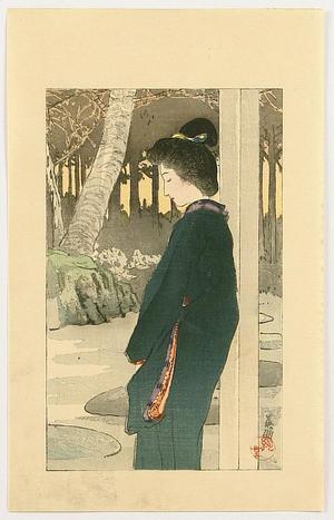 Hirezaki Eiho: Bijin by Garden - Japanese Art Open Database