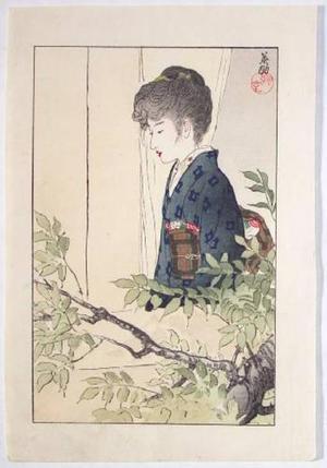 Hirezaki Eiho: Bijin in a window - Japanese Art Open Database