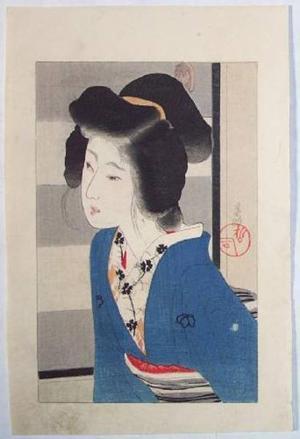Hirezaki Eiho: Girl in Blue Kimono - Japanese Art Open Database