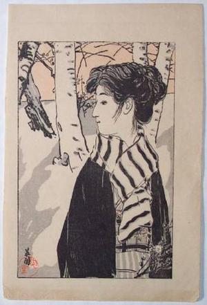 Hirezaki Eiho: Lady in Snowy Forest - Japanese Art Open Database