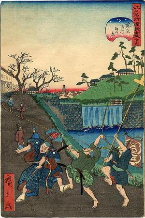 歌川広景: Lord Kusunoki bidding farewell to his son before the battle - Japanese Art Open Database