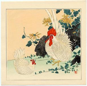 長町竹石: A Rooser and Hen in a Garden - Japanese Art Open Database