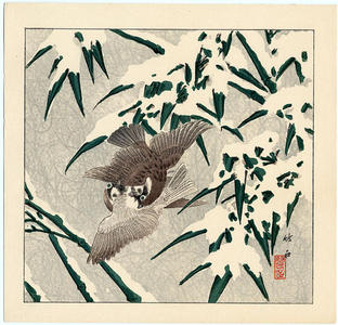 長町竹石: Two Birds in Snow - Japanese Art Open Database