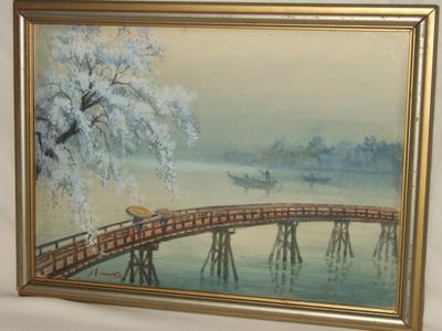 Yoshida Hiroshi: Bridge in Spring - Japanese Art Open Database