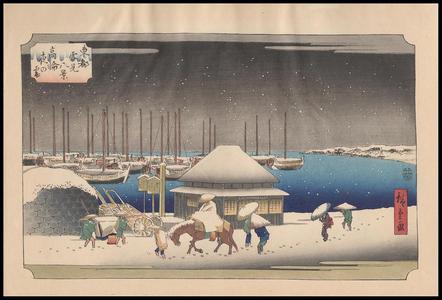 歌川広重: A Snow Evening at Takanawa - Japanese Art Open Database