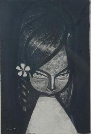 Ikeda Shuzo: Girl with Flower in Hair- sumie - Japanese Art Open Database