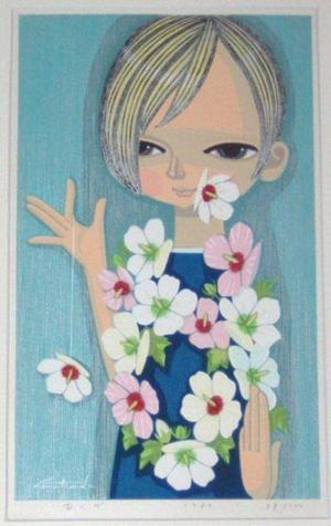 Ikeda Shuzo: Girl with Flowers - Japanese Art Open Database