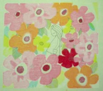 Ikeda Shuzo: Unknown - Girl in flower forest - Japanese Art Open Database