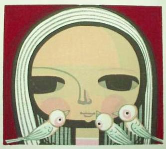 Ikeda Shuzo: Unknown- girl and 3 birds - Japanese Art Open Database