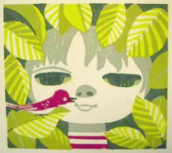 Ikeda Shuzo: Unknown- girl and bird and leaves - Japanese Art Open Database