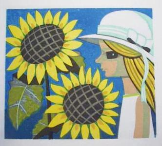Ikeda Shuzo: Unknown - sunflowers and girl - Japanese Art Open Database