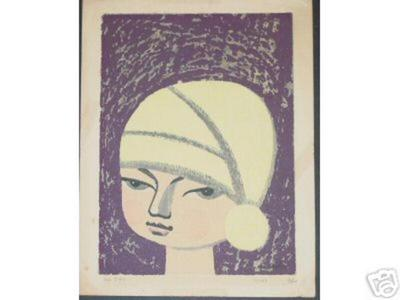 Ikeda Shuzo: Untitled- Childs Face and beanie - Japanese Art Open Database