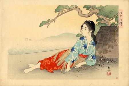 Ikeda Terukata: Untitled- Young bijin relaxing - Japanese Art Open Database
