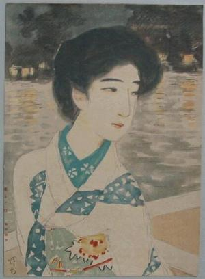 Ikeda Terukata: Bijin by lake - Japanese Art Open Database