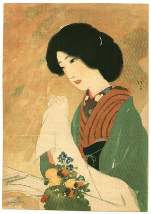 Ikeda Terukata: Lithograph- Bijin - Japanese Art Open Database