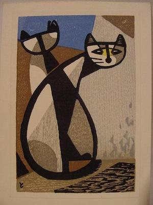 Inagaki Tomoo: Two Cats - Japanese Art Open Database