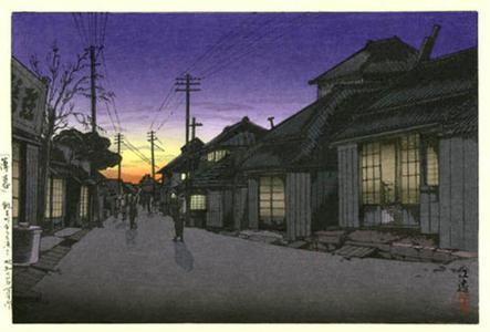 Tsuchiya Koitsu: Twilight in Imamiya Street, Choshi - Japanese Art Open Database