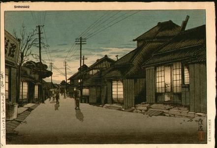 風光礼讃: Twilight in Imamiya Street, Choshi - Japanese Art Open Database