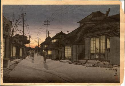 風光礼讃: Twilight in Imamiya Street, Choshi - Japanese Art Open Database