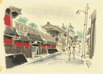Ito Nisaburo: Rainy Street of Kyoto - Japanese Art Open Database