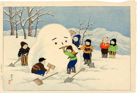 逸見享: Children making a Snowman in the Northeast District - Japanese Art Open Database