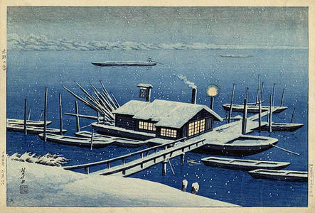 逸見享: Ferry in Snow at Akabane, Tokyo - Japanese Art Open Database