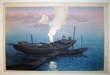 Henmi Takashi: Odai Ferry in Tokyo - Japanese Art Open Database