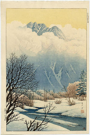 Henmi Takashi: Spring Snow at Jokochi- or Kamikochi - Japanese Art Open Database
