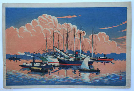 Henmi Takashi: Sunset Glow at Tsukishima by Takashi Ito - Japanese Art Open Database
