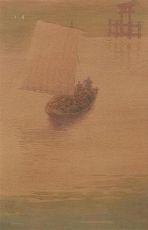 Ito Yuhan: Boatmen at sunset at Miyajima - Japanese Art Open Database