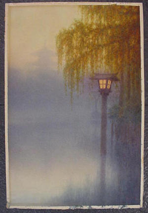 Ito Yuhan: Distance View of Nara Pagoda from the Pond of Sarusawa and Willow Trees on the Right at Evening - Japanese Art Open Database