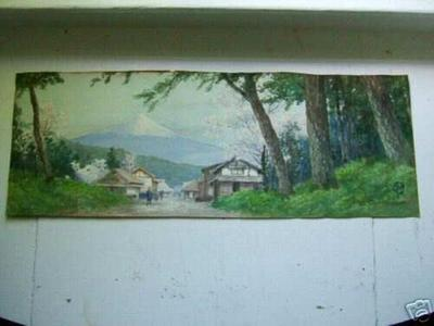 Ito Yuhan: Mt Fuji and village in spring - Japanese Art Open Database