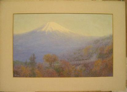 Ito Yuhan: Mt Fuji in autumn with bridge - Japanese Art Open Database