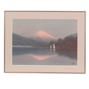 Ito Yuhan: Mt Fuji with sailboats on lake - Japanese Art Open Database