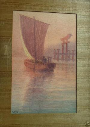Ito Yuhan: Sailboat at Miyajima - Japanese Art Open Database