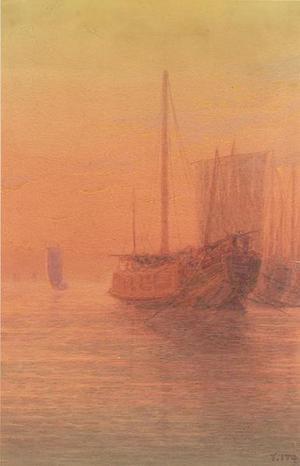 Ito Yuhan: Sunset harbor scene with shipping - Japanese Art Open Database