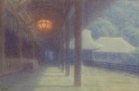 Ito Yuhan: Temple in mist - Japanese Art Open Database