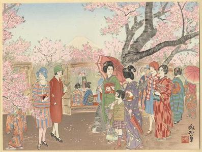 Jokata Kaiseki: Mt Fuji and the Cherry Blossoms on Asuka Hill - Japanese Art Open Database