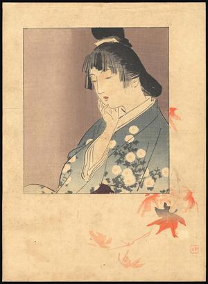 梶田半古: Bijin and Maple Leaves - Japanese Art Open Database