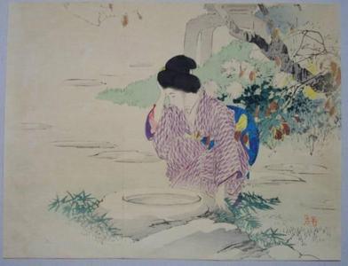 梶田半古: Bijin at water — 仙錦亭 - Japanese Art Open Database