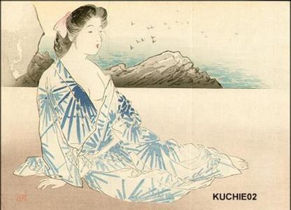 梶田半古: Bijin on sea shore - Japanese Art Open Database