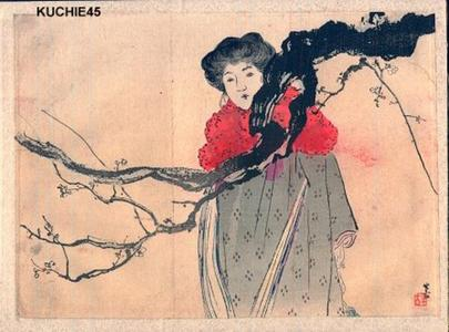 梶田半古: Bijin with red coat - Japanese Art Open Database